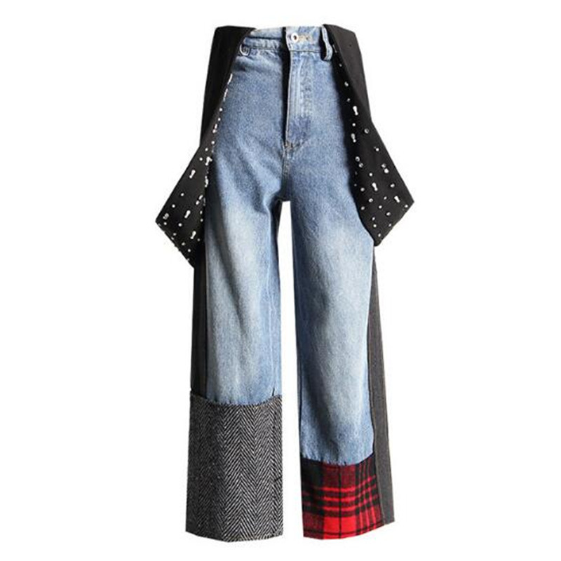 2018 Women Beading Strap Patchwork Plaid Contrast Color Wide Leg Jeans Vintage Loose Ankle length Denim