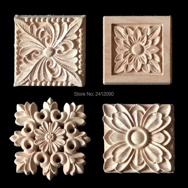 2 Piezas De Madera Natural Tallado Apliques Para Gabinete Muebles Molduras Decorativas Etiqueta Flor