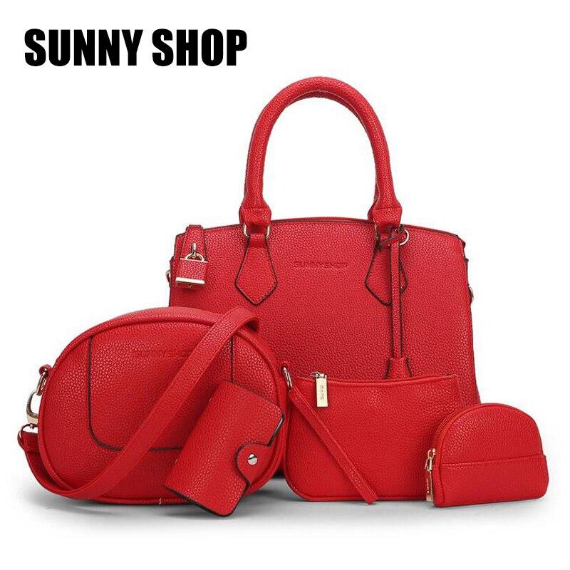 SUNNY SHOP Beauty Bag 5 font b Set b font Ladies Hand Bags Leather Large Lock