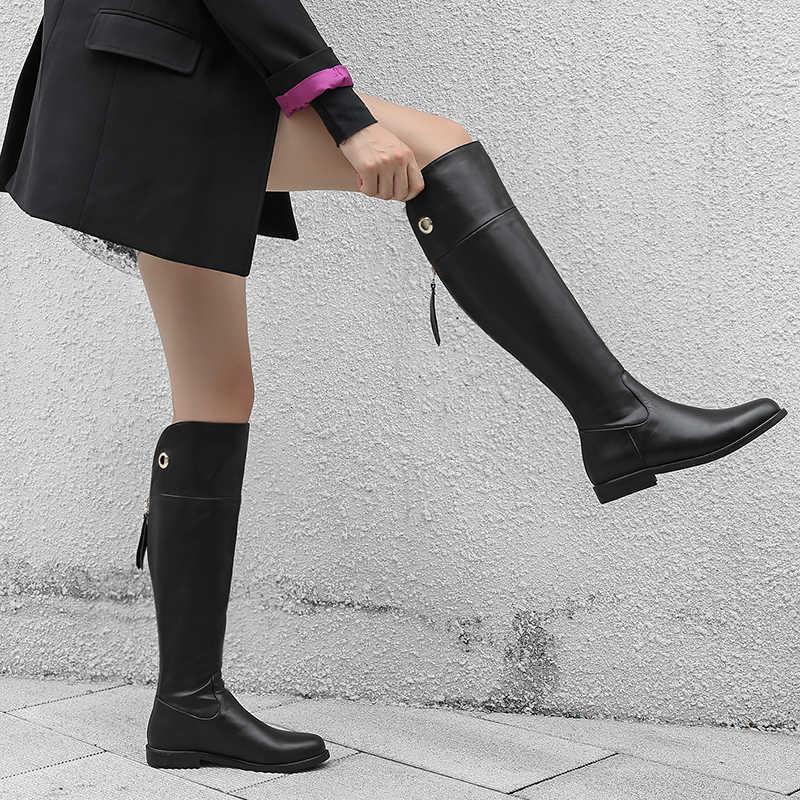 WETKISS vache cuir femmes genou bottes hautes moto bout rond Zip chaussures talons bas femme équitation botte femme hiver 2019 nouveau