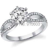 Fashion 1 Carat Simulated Diamond Solitaire Ring For Women White Gold Plated 925 Sterling Silver Engagement