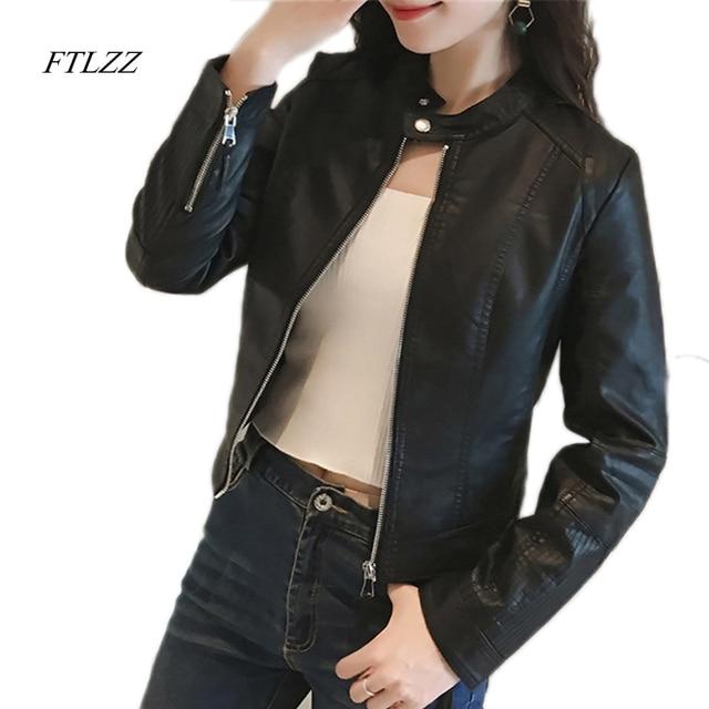 FTLZZ New Spring Faux Leather Jacket Women Slim Vintage Black Soft Motorcycle Short Jacket Lady Bomber Coat