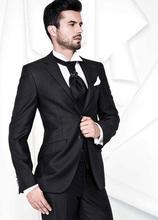Fashion Style Two Button Black Groom Tuxedos Groomsmen Men's Wedding Prom Suits Bridegroom (Jacket+Pants+Vest+Tie) K:543