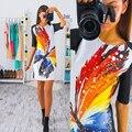2017 mujeres dress vintage impreso de manga corta slim vestidos de fiesta vestidos de las señoras mini primavera dress