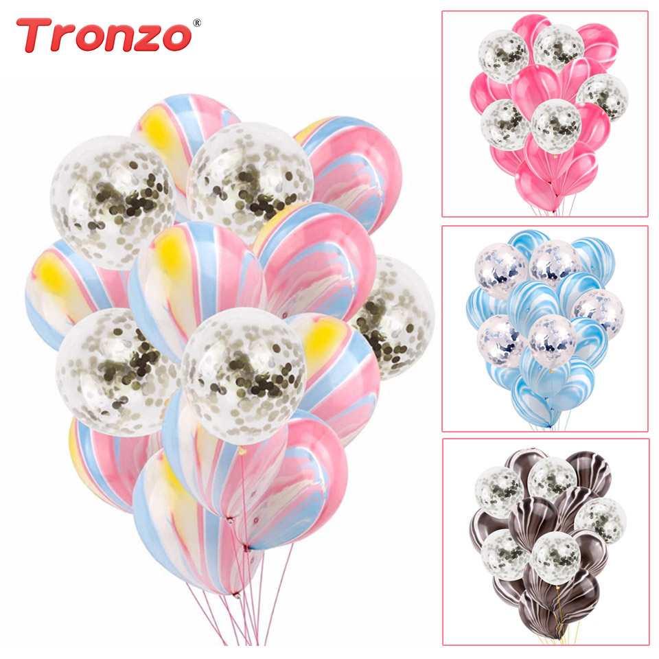 Tronzo Wedding Silver Confetti Balloon Birthday Party Baby Shower Favors 15pcs Agate Silver Confetti Balloons Wedding Decoration