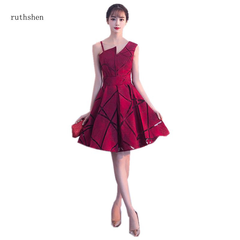 ruthshen Burgundy Grey Pink red Sleeveless   Prom     Dress   Simple Knee Length Vestido De Festa Curto 2018 New Short   Prom   Gowns