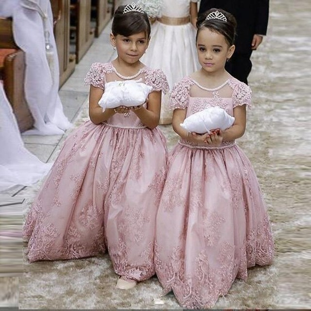 44ef51b8f76 Princess Ball Gown Pink Lace Flower Girls Dresses For Weddings Cheap 2016  Tulle Bow Custom Made Cute First Communion Dress