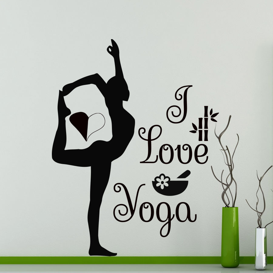 Sticker gym wall - Yoga Vinyl Wall Sticker I Love Yoga Quote Gymnast Sexy Girl Wall Sticker Fitness Centre Gym