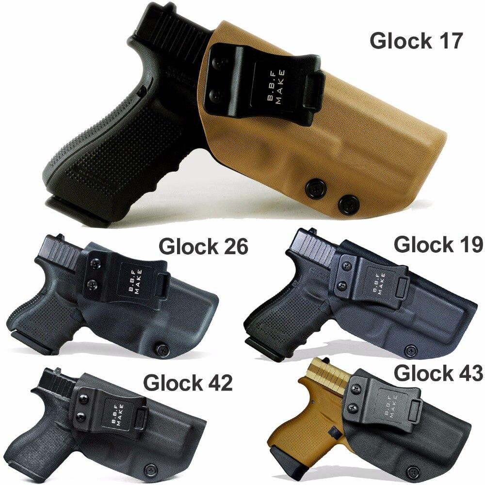 B.B.F hacer IWB táctico KYDEX funda de pistola Glock 19 17 25 26 27 28 43 22 23 31 32 33 dentro oculto llevar cintura pistola caso
