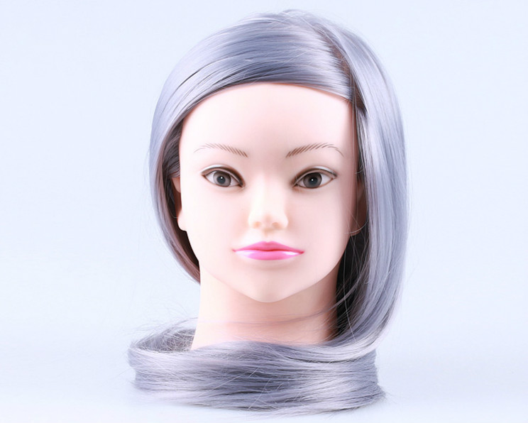 Hair Styling Mannequin Head: Hair Mannequin Head With Wig Synthetic Maniqui 23inch Gray