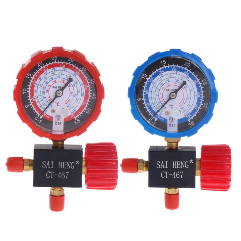 Air Conditioner Three-Way Single Manifold Gauge Valve R134A R404A R22 R410A Pressure Gauge Drop Shipping Support air conditioner part 3 way valve 1 4npt thread single manifold gauge 220psi
