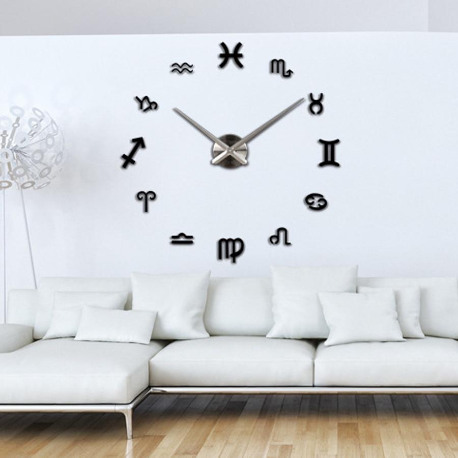 DIY Wall Clock Sticker Modern Design 12 Constellations Big Clocks ...