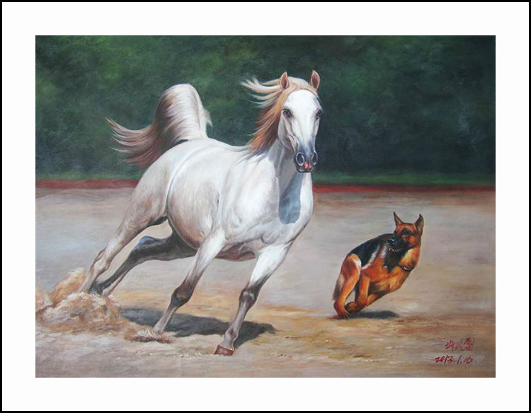 Вышивка лошадь с собакой