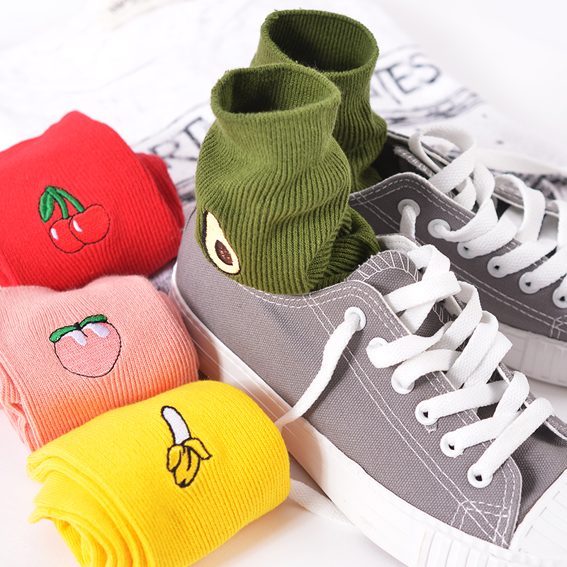 New Korean Pile Heap Socks Retro Embroidery Long Section Of Cotton Socks Cute Comfortable Fruit Banana Cherry Pear Pattern Socks
