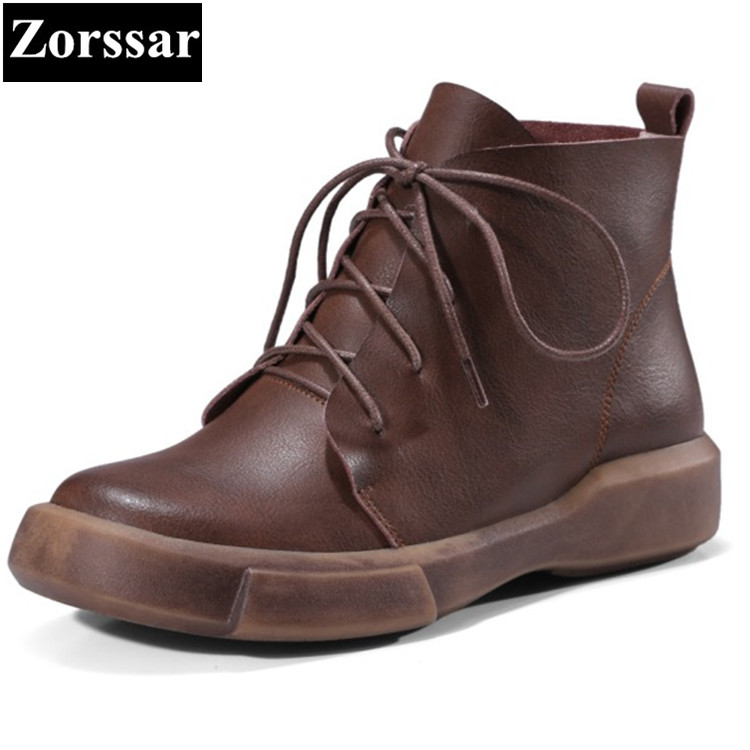 {Zorssar}2017 NEW fashion Casual lace-up Flat heel ankle Boots Genuine leather flats women Short boots Spring autumn women shoes high quality full cow skin genuine leather flat casual ankle boots women 2016 black white lace up fashion autumn walking shoes