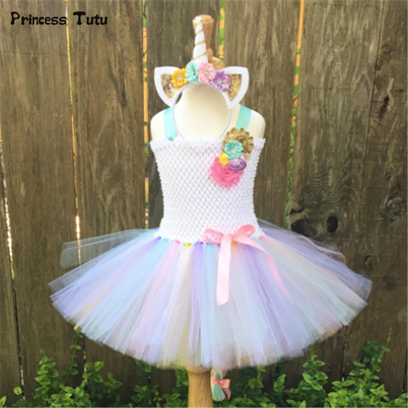 Rainbow Pony Unicorn Tutu Dress Girl Kids Christmas Halloween Costume Fancy Baby Girl Birthday Party Dresses With Headband 1-14Y children girl tutu dress super hero girl halloween costume kids summer tutu dress party photography girl clothing