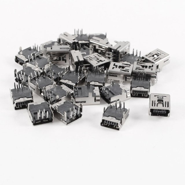 High Quality 30 Pcs Mini USB Type B Female Socket 5-Pin Right Angle DIP Jack Connector
