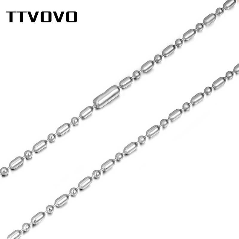TTVOVO DIY Chain Necklace Stainless Steel Women Men 1.6MM-4MM Width Round Beads Ball Link Chain Necklace for Pendant Accessories