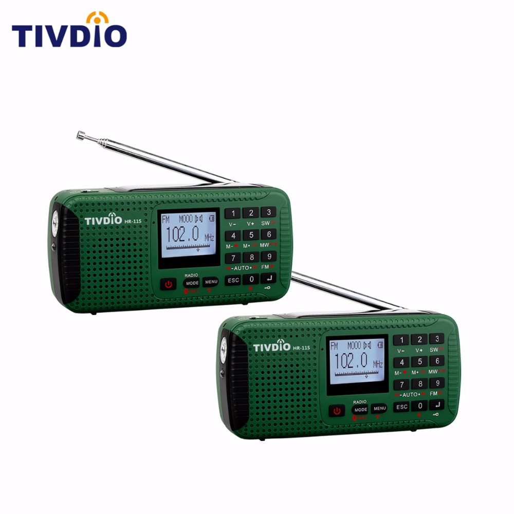 2 Pcs TIVDIO HR-11S Digital Recorder Portable FM/MW/SW Hand Crank Solar Emergency Alert Radio Station Bluetooth Music F9208G tivdio portable fm radio dsp fm stereo mw sw lw portable radio full band world receiver clock