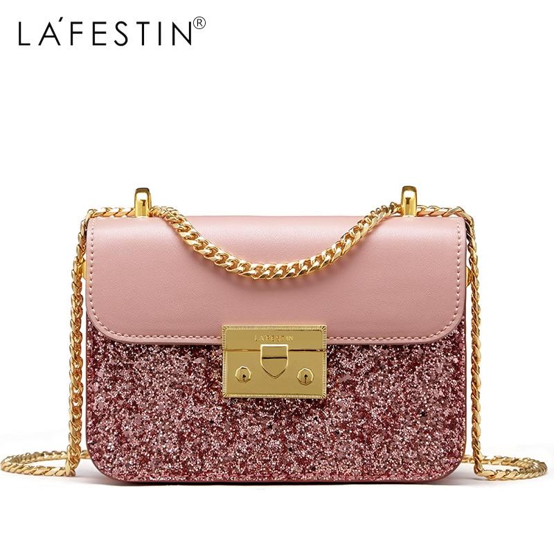 LAFESTIN Women Shoulder Handbag Glitter Sequin PU Leather Metal Chain Crossbody Bag New Luxury Messenger bag Bags bolsa uomo m edt