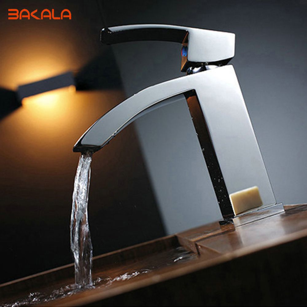 BAKALA Unique Single Handle Waterfall Bathroom Vanity Sink Faucet With  Extra Large Rectangular Spout Chrome LH