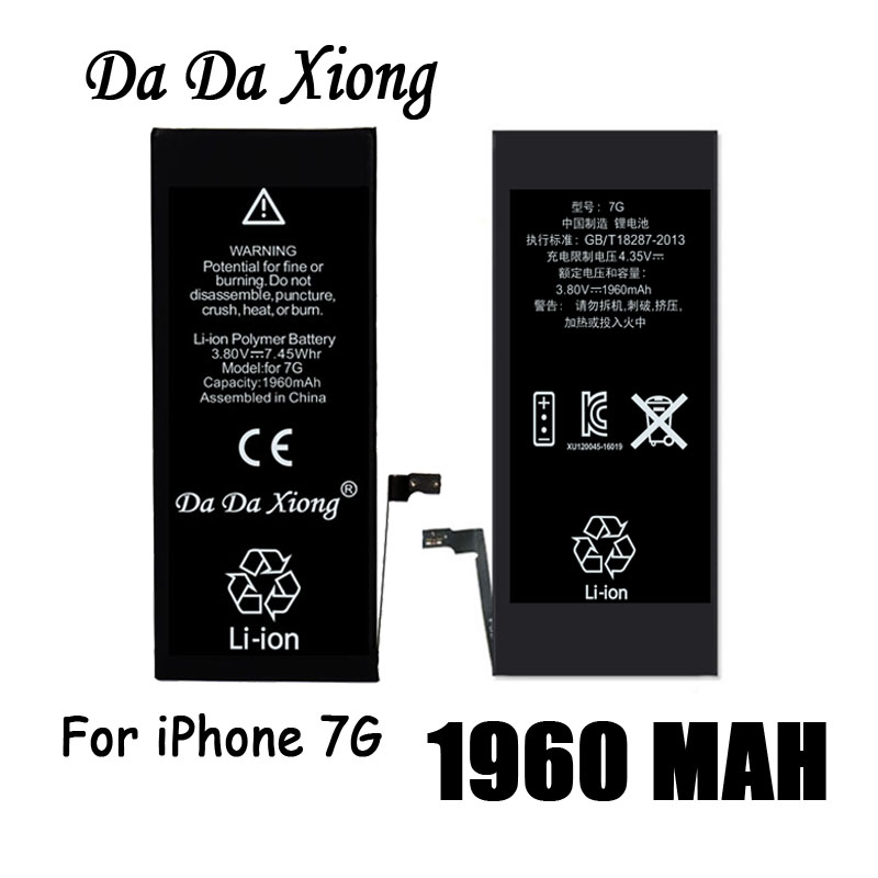 Real-Capacity-Battery iPhone 7 Batteries Replacement Apple for 7G 1960mah Free 100pcs/Lot