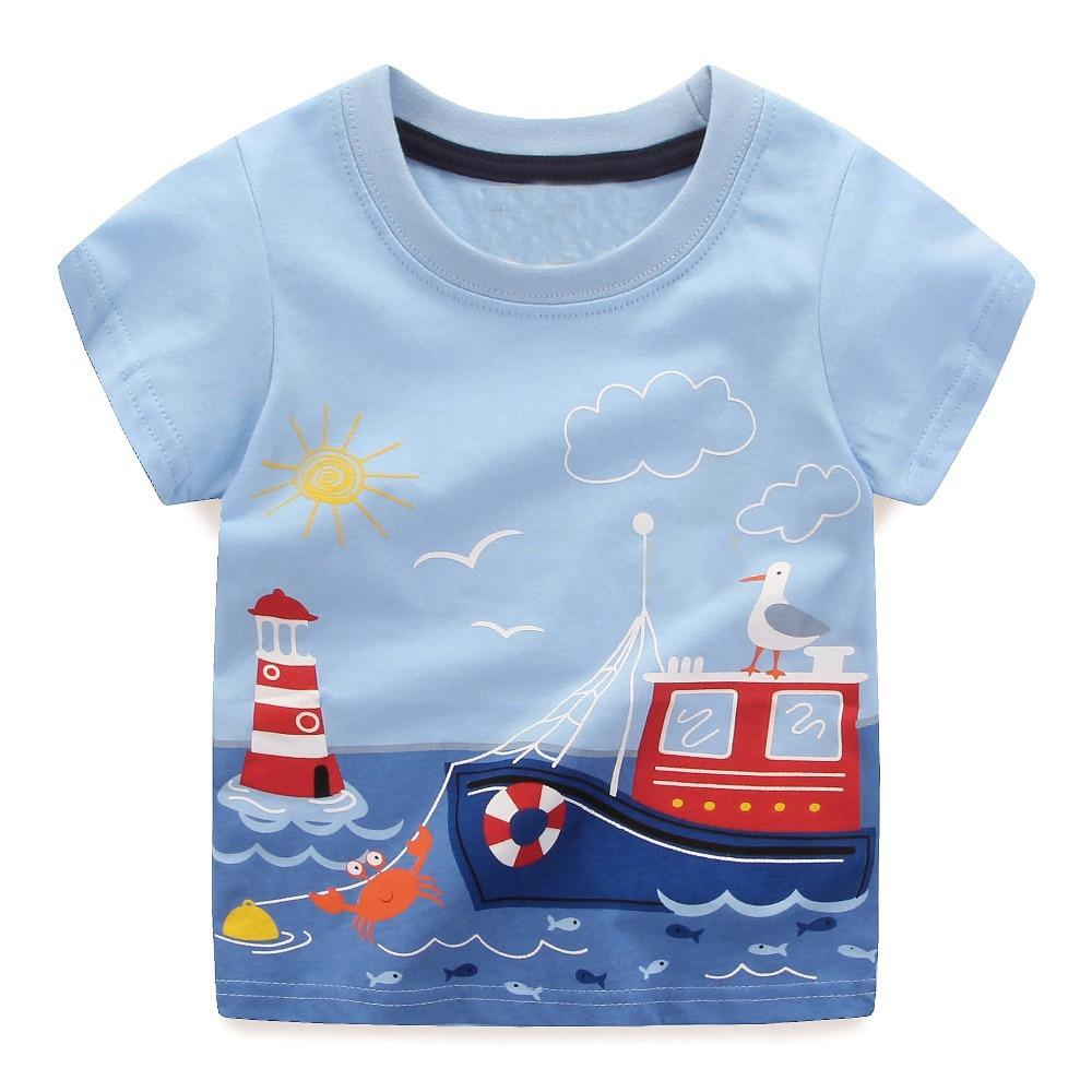 559391019ab33 الفتيان قمم الصيف 2018 العلامة التجارية الأطفال القمصان ملابس الأولاد أطفال  المحملة قميص Fille 100%
