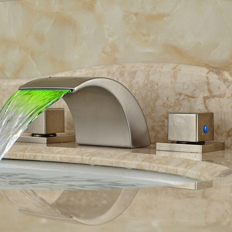 Новый Дизайн Водопад Широкое смеситель кран двойной ручкой свет Ванная комната кран