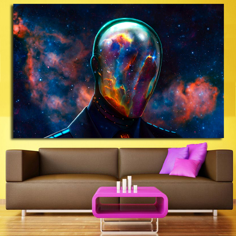 Us 6 23 52 Off Hd Printed Canvas Art Abstract Character Psychedelic Nebula Space Painting Decor Panel Paintings Free Shipping In Painting