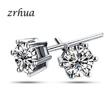 ZRHUA 925 Sterling Silver Round Stud Earrings for Women Girls 2018 sterling-silver-jewelry brincos oorbellen aros de plate 925(China)