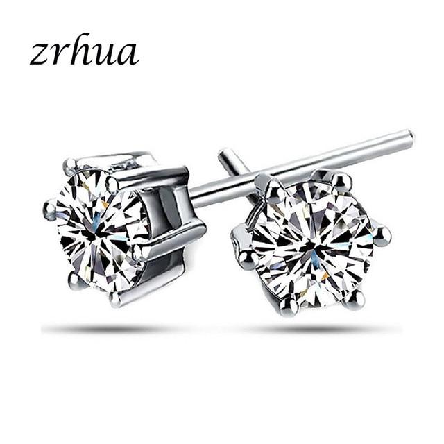 ZRHUA 925 Sterling Silver Round Stud Earrings for Women Girls 2018 sterling-silver-jewelry brincos oorbellen aros de plate 925