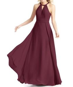Image 5 - בורגונדי שושבינה שמלות ארוך שיפון שמלת מסיבת חתונה 2020 חלוק עלמת Dhonneur חתונת אורח שמלה