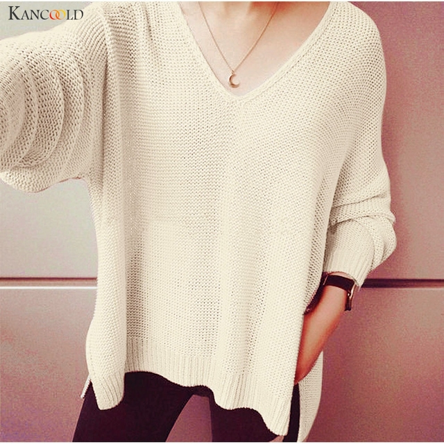 c550bbd2322 US $9.7 38% OFF|Modern Women Long Sleeve V Neck Knitted Sweater Autumn  Winter New Warm Slim Knit Side Slit Pullover Lady Knitwear Camisola  Oct12-in ...