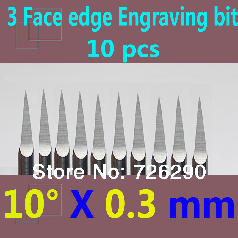 Free Shipping 10pcs 3.175mm Dia 10 Angle 0.3mm Tip 3 Edge Carbide Woodworking Tools Engraving Bits for CNC Router Machine 60 angle 4 0 4mm tip sharp three edge cnc router carving tool engraving bits 10pcs carbide cutting machine tools free ship