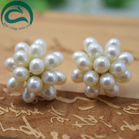 Classic Pearls Earrings ,Natural White Color Real Pearl Jewellery,Flower Earring ,Fashion Lady's Gift Wedding Party Jewelry