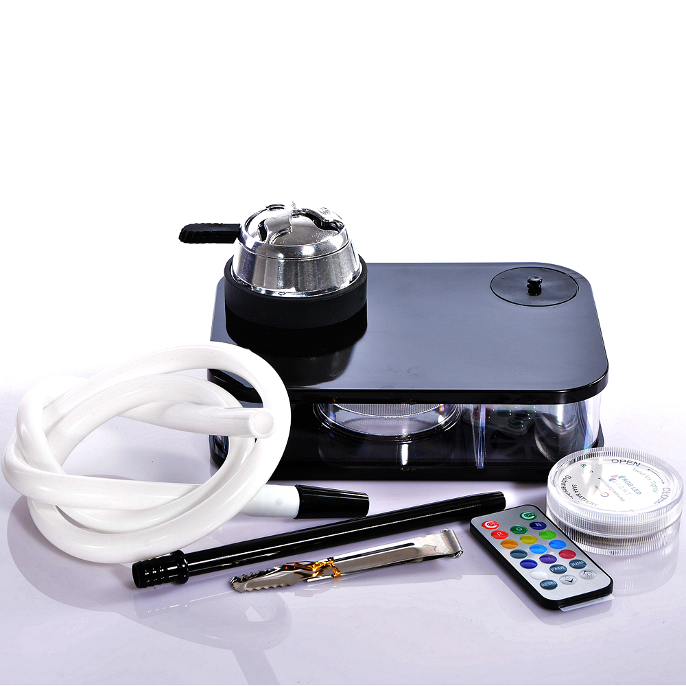 Schwarze Acryl Shisha Shisha mit LED-Licht Chicha Schüssel Schlauch - Haushaltswaren - Foto 1