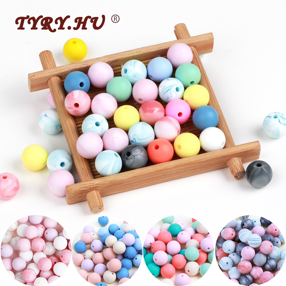 TYRY.HU Food Grade 12mm Silicone Beads For DIY Teething Necklace Toy Childen's Goods BPA Free Silicone Pearls  Beads Teether