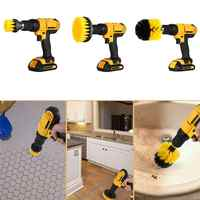 3pcs/set Cleaning Brush Electric Drill Kit Power Scrub Brush Attachment for Cleaning Car Tires Kitchen Bathroom Seat Carpet Mat