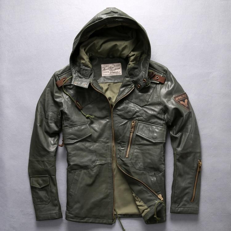 AVIREXFLY 2018 Lungo con cappuccio giacca di pelle uomini giacca di volo marrone Cuoio Genuino del cowskin Slim Fit Casual Russo Cappotti M-XXXL