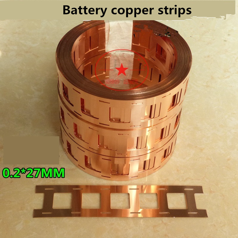 2P 18650 Battery Copper Strips Welded Sheet Bracket High Current Connection Piece Punching Battery Copper Strips 0.2mm*27mm