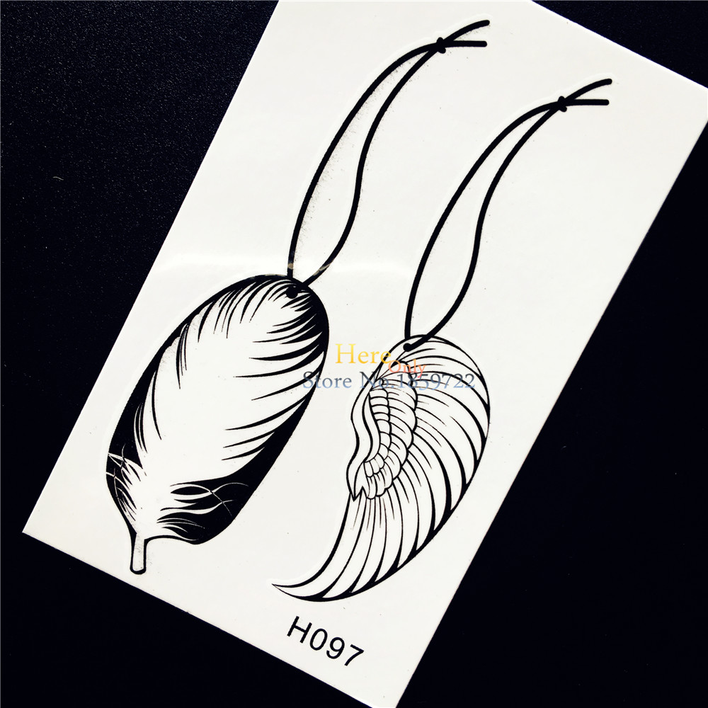 1PC New Waterproof Henna Women Body Art Tattoo Feather Pendant Necklace Design Temporary Fake Tattoo Sticker Arm Leg Tatoos HH97