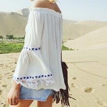 Summer Autumn vintage blusas ethnic women blouses plus size Fringed Flare Sleeve Off shoulder tops