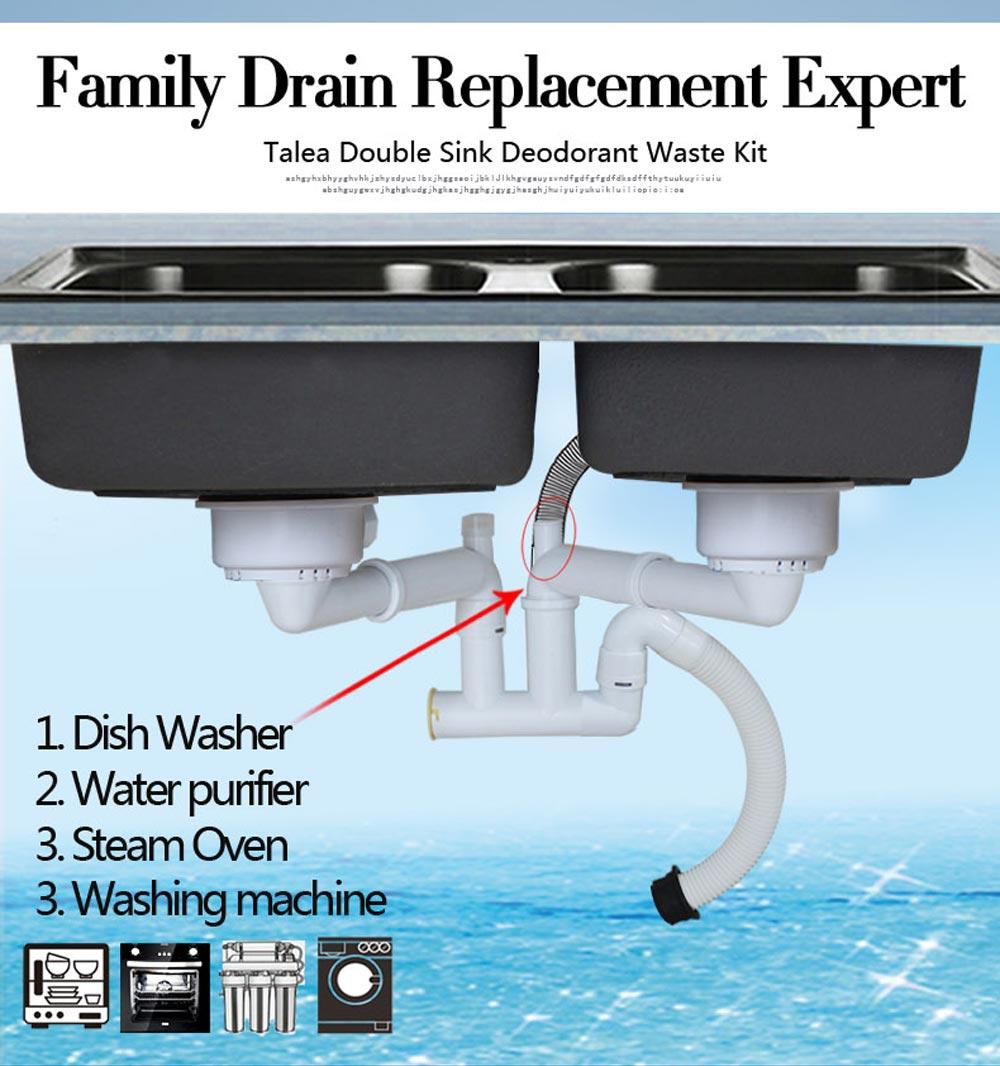 Talea Double basin kitchen sink drain pipe kitchen accessories ...