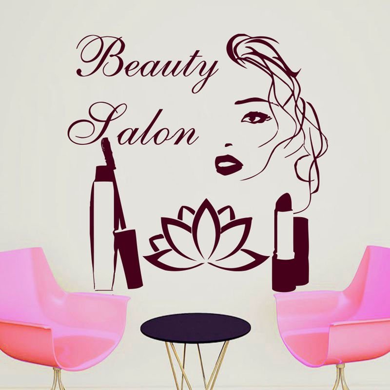 salon sticker woman barber hair beauty spa decal haircut. Black Bedroom Furniture Sets. Home Design Ideas