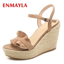 ENMAYLA  Kid Suede Basic Casual High Heels Sandals Women Wedges Shoes for Buckle Strap Size 34-39 LY1169