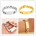 "Charming 1PC Stainless Steel ID Bracelet Silver Or Gold Cuban Curb Chain 8.66"" Bracelets16mm Blank Punk Men's Heavy Bangles"