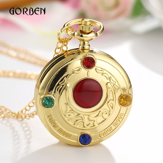 Lovely Luxury Gold Anime Sailor Moon Pocket Watch with chain Fashion Fob Clock N