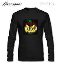 Halloween's Party EL Sound activated T-Shirts Pumpkin festival Cotton Brand LED Flash TShirt Size:S~3XL Free Shipping