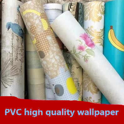 Pvc self-adhesive self-adhesive thick waterproof wallpaper wallpaper bedroom living room background Korea color film thickening