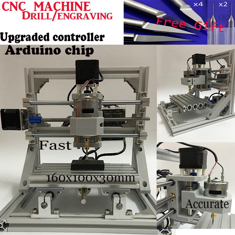 DHL ship Diy CNC engraving machine,working area 16*10cm,PCB Milling Machine CNC Wood Carving Mini Engraving router,support ER11 1610 mini cnc machine working area 16x10x3cm 3 axis pcb milling machine wood router cnc router for engraving machine